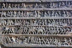 De oude Hindoese Gravure van de Tempel Stock Foto