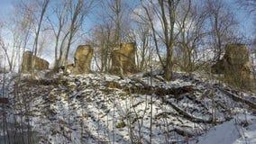 De oude historische ruïnes van het manorlandgoed in de wintersneeuw, tijdtijdspanne 4K stock videobeelden
