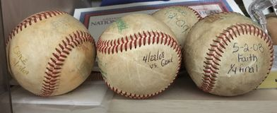 De oude homerun baseballs Stock Foto's