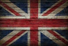 De Oude Houten Vlag van Groot-Brittannië Stock Afbeeldingen