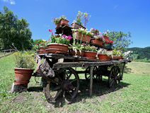 de oude houten wagen festooned met vele potten van bloemen in de weide Stock Foto