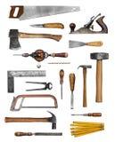De oude hulpmiddelen van de timmermanshand stock foto's