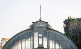 De oude ijzerschuilplaats van Como-Spoorwegenpost Stock Foto's