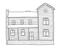 De oude illustratie van de de lijnkunst van de huisstijl Stock Fotografie