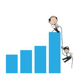 De oude jonge mens van de zakenmantrekkracht stock illustratie