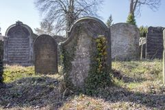 De oude Joodse Begraafplaats in Horice-stad is zeer groot en goed-bewaard Stock Afbeelding
