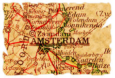 De oude kaart van Amsterdam stock afbeelding