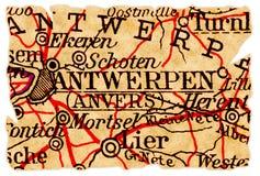 De oude kaart van Antwerpen royalty-vrije stock afbeeldingen