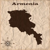 De oude kaart van Armenië met grunge en verfrommeld document Vector illustratie stock illustratie