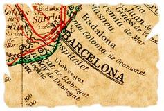 De oude kaart van Barcelona Stock Afbeelding