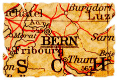 De oude kaart van Bern stock afbeeldingen