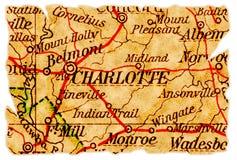 De oude kaart van Charlotte royalty-vrije stock foto's