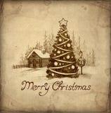 De oude kaart van de Kerstmisgroet Stock Foto's