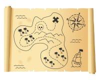 De oude Kaart van de Schat op Perkament Stock Fotografie