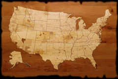 De oude kaart van de V.S. royalty-vrije illustratie