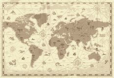 De oude kaart van de Wereld Stock Afbeeldingen