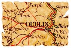De oude kaart van Dublin royalty-vrije stock afbeeldingen