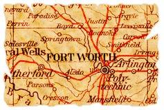 De oude kaart van Fort Worth stock afbeelding