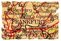 De oude kaart van Frankfurt royalty-vrije stock foto