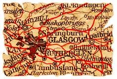 De oude kaart van Glasgow stock afbeelding