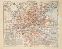 De oude kaart van heilige Petersburg Stock Foto's
