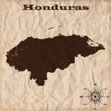 De oude kaart van Honduras met grunge en verfrommeld document Vector illustratie Stock Afbeelding