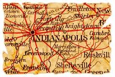 De oude kaart van Indianapolis Royalty-vrije Stock Afbeeldingen