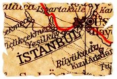 De oude kaart van Istanboel stock foto