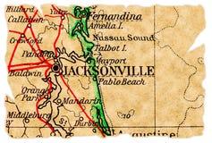 De oude kaart van Jacksonville royalty-vrije stock fotografie