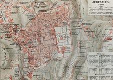 De oude kaart van Jeruzalem Royalty-vrije Stock Afbeeldingen