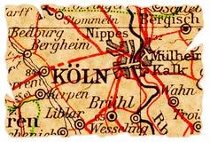 De oude kaart van Keulen royalty-vrije stock foto