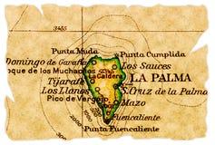 De oude kaart van La Palma stock foto's
