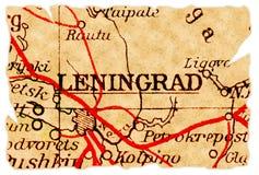 De oude kaart van Leningrad stock foto
