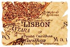 De oude kaart van Lissabon stock afbeelding
