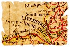 De oude kaart van Liverpool Stock Afbeeldingen