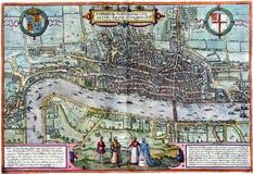 De oude kaart van Londen Stock Afbeelding