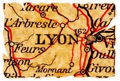 De oude kaart van Lyon stock afbeeldingen