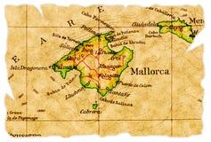 De oude kaart van Mallorca Stock Foto