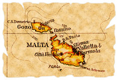 De oude kaart van Malta stock afbeelding