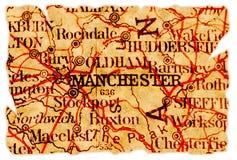 De oude kaart van Manchester stock afbeeldingen