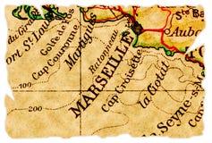 De oude kaart van Marseille royalty-vrije stock fotografie