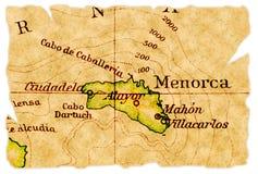 De oude kaart van Menorca stock foto's