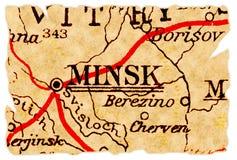 De oude kaart van Minsk stock fotografie