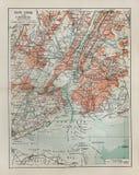 De oude kaart van New York stock foto