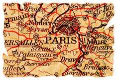 De oude kaart van Parijs royalty-vrije stock afbeeldingen