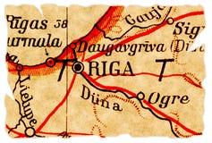 De oude kaart van Riga, Letland Stock Foto's
