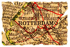De oude kaart van Rotterdam stock foto