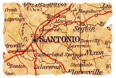 De oude kaart van San Antonio stock afbeeldingen