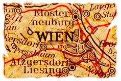 De oude kaart van Wenen stock fotografie