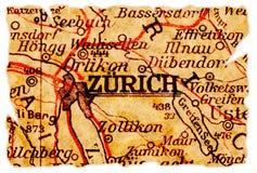 De oude kaart van Zürich stock foto's